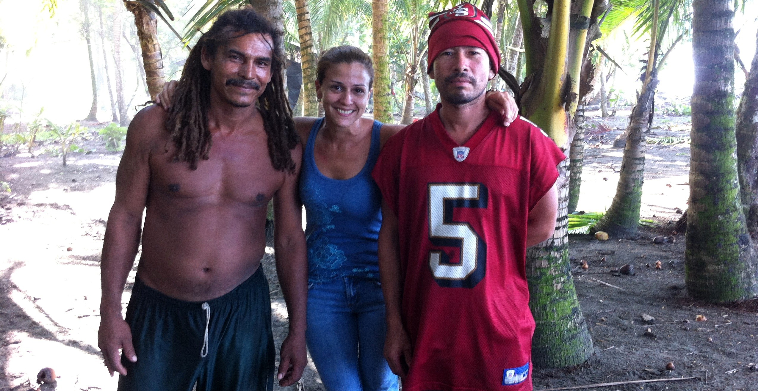 Vanessa with two of the poachers she hired to work at Costa Rica Sanctuary