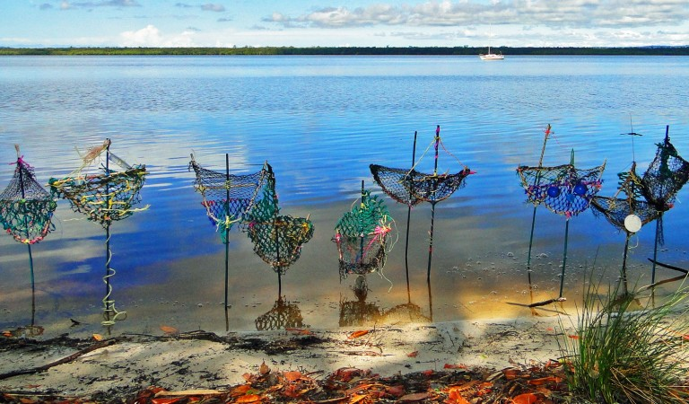 Photo: Sue Ryan.  A ghost net workshop and art exhibition were held at the Floating Land Festival.