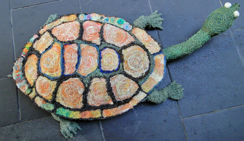 Photo:  Sue Ryan. Collaborative Eastern Long-Necked Turtle sculpture, now in the City of Melbourne collection