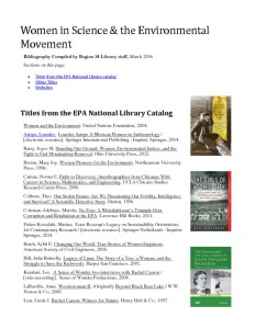 thumbnail of Women in Science Bibliography_EPA National Library Catalog